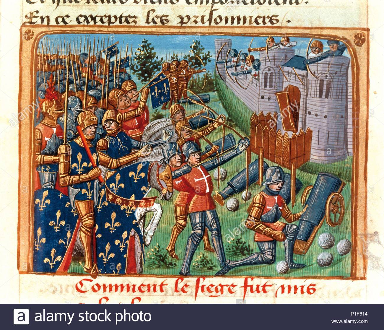 Surrender of Cherbourg to the French under the command of King Charles VII in 1450. From 'Vigiles du feu roi Charles septième'. Illuminated manuscript; France; 15th century. Location: Bibliotheque Nat., Coll. des Manuscripts, Paris, France. - Stock Image