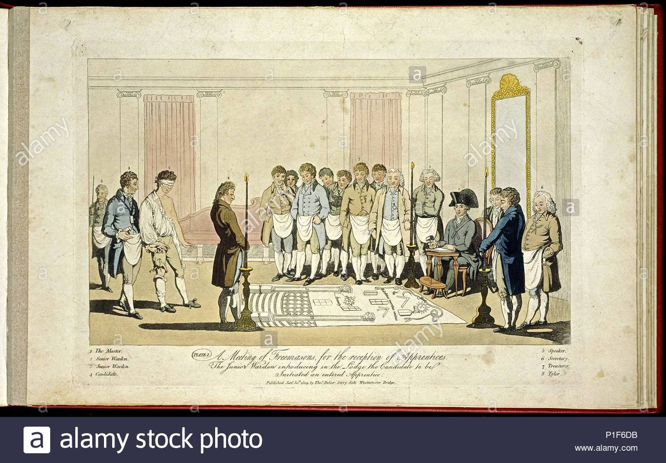 A meeting of Freemasons for the reception of apprentices:   The junior warden introducing in the Lodge the candidate to be initiated an entered apprentice.   Lithograph published 1st March 1812, by Thomas Palser, Surry Side, Westminster Bridge. - Stock Image