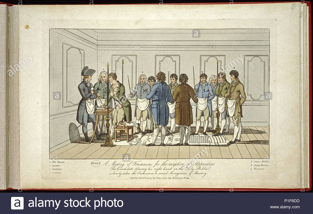 A meeting of Freemasons for the reception of apprentices:   The candidate placing his right hand on the Holy Bible solemly takes the oath never to reveal the mysteries of masonry. Lithograph published 1st March 1812, by Thomas Palser, Surry Side, Westminster Bridge. - Stock Image