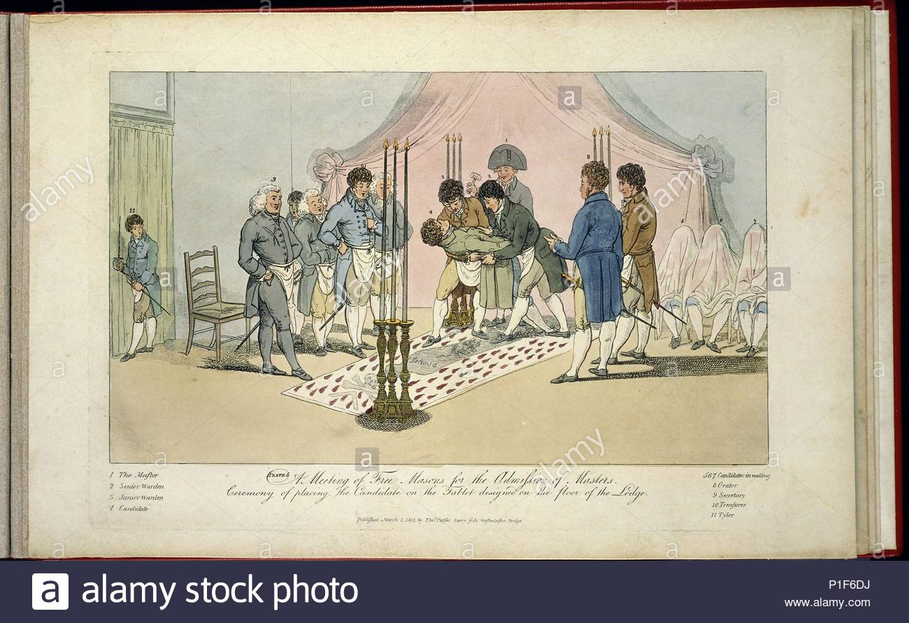 A meeting of Freemasons for the reception of apprentices:   Ceremony of placing the candidate on the tablet designed on the floor of the lodge. Lithograph published 1st March 1812, by Thomas Palser, Surry Side, Westminster Bridge. - Stock Image