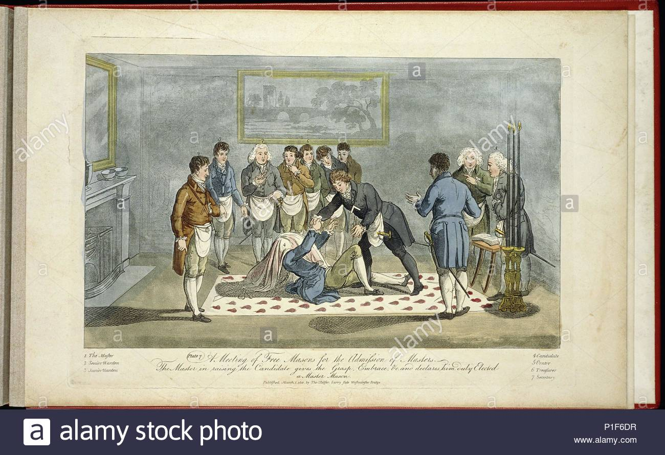 A meeting of Freemasons for the reception of apprentices:   The Master in raising the candidate gives the Grasp, Embrace and declares him Duty Elected a Master Mason.   Lithograph published 1st March 1812, by Thomas Palser, Surry Side, Westminster Bridge. - Stock Image