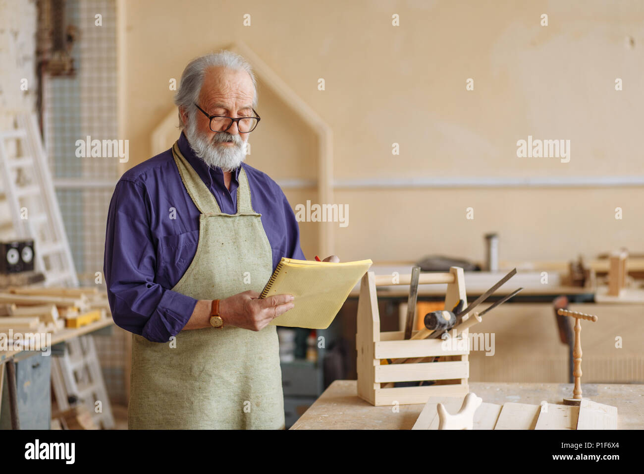 precise controle of working with wood Stock Photo