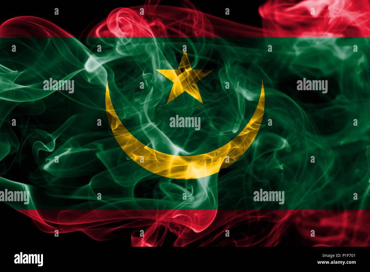 Mauritania smoke flag - Stock Image