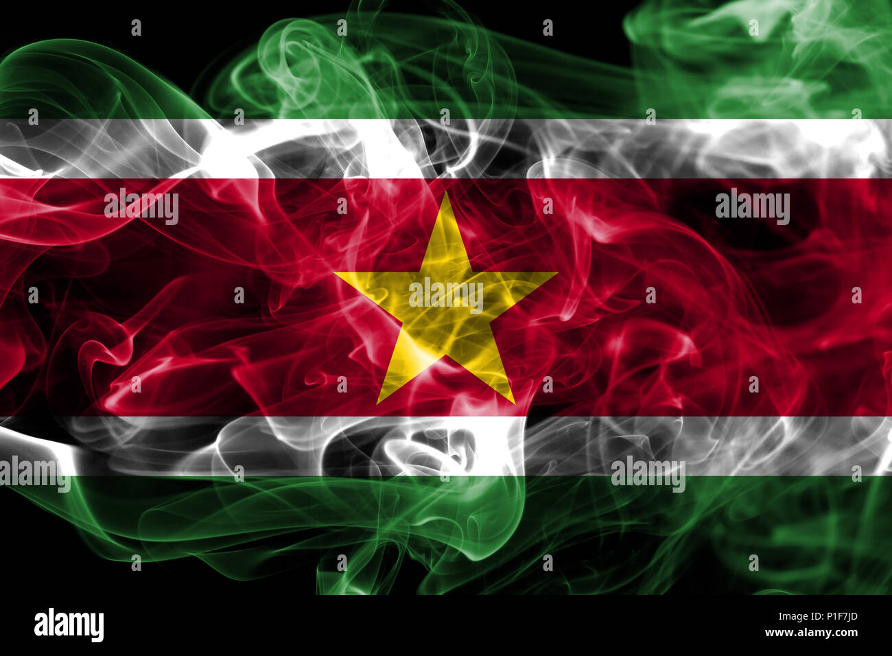Suriname smoke flag - Stock Image