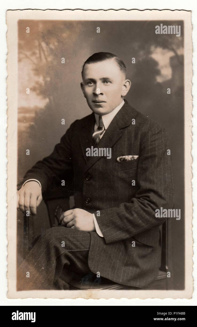EILENBURG, GERMANY - CIRCA 1920s: Vintage photo shows young