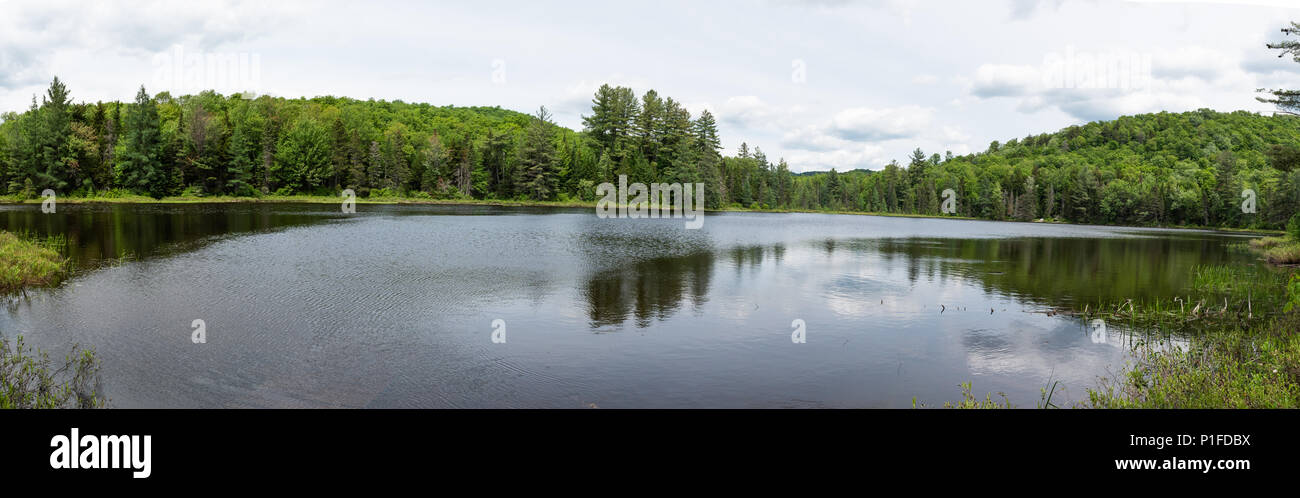A panorama view of Lower Pine Lakes in the Hamilton County skywilderness  in the Adirondack Mountains, NY USA - Stock Image