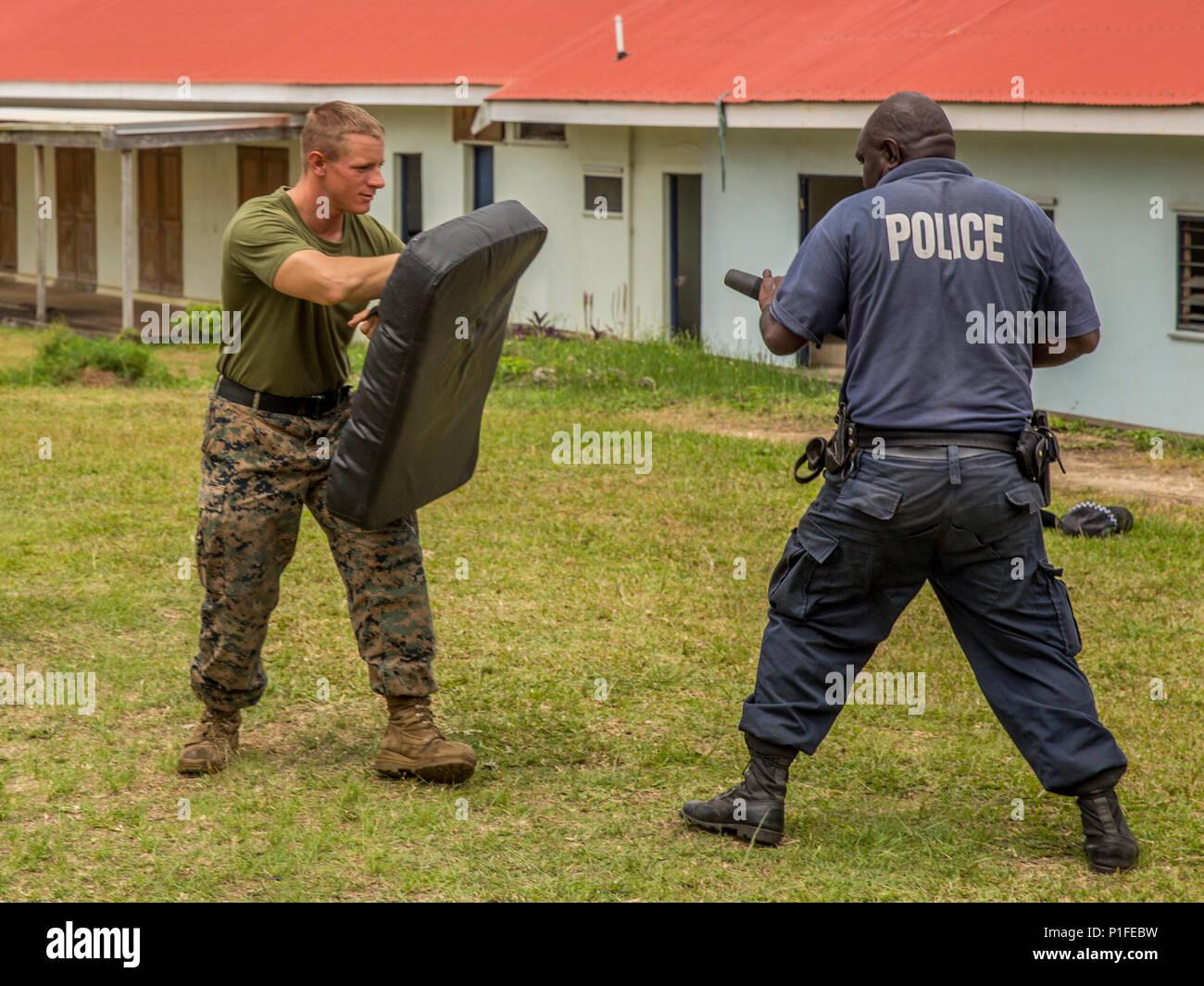 U S  Marine Sgt  Brier Avara, military police Marine with Law