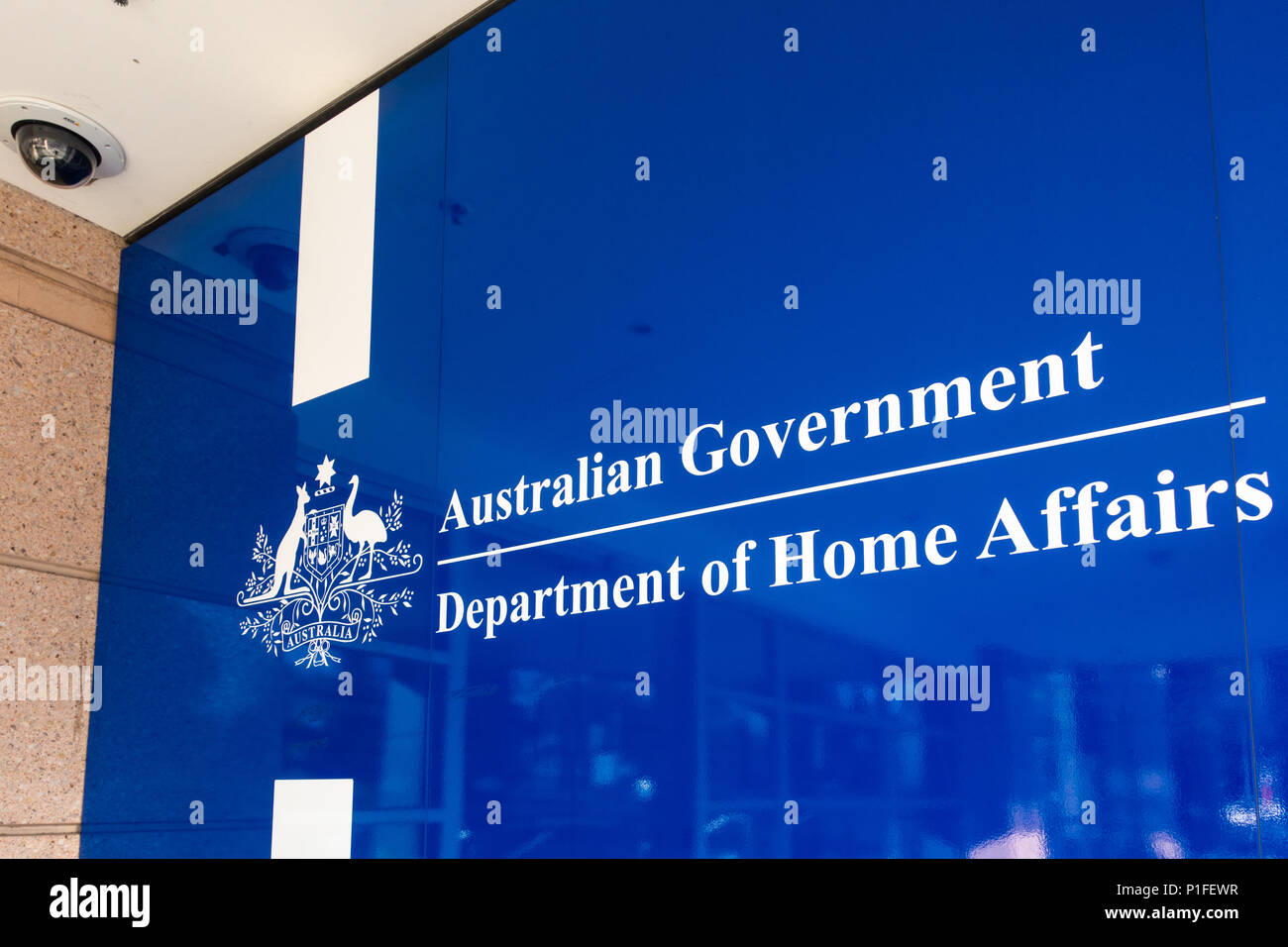 Logo of Department of Home Affairs at entrance of the office building. Melbourne, VIC Australia. - Stock Image
