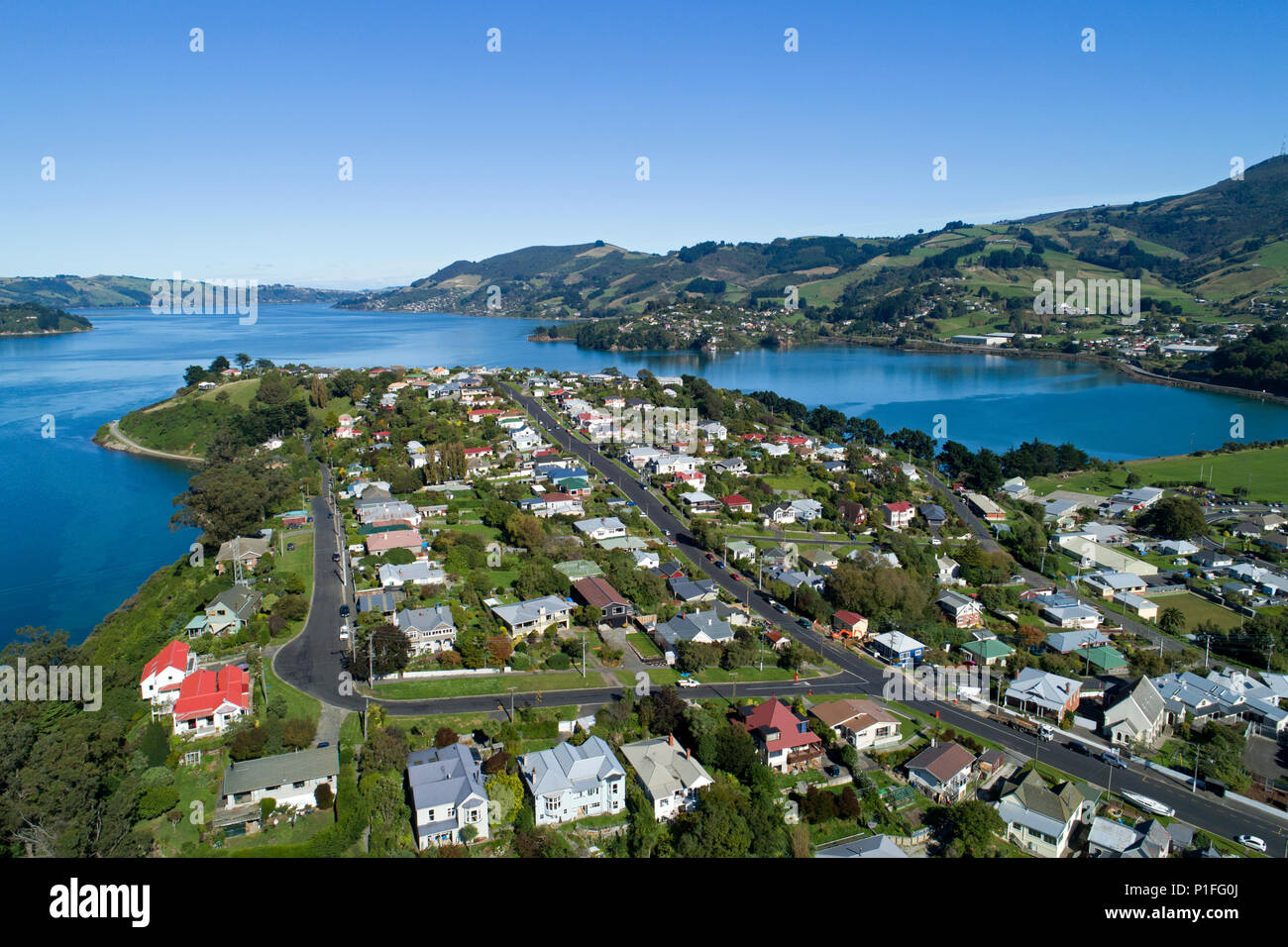 Port Chalmers, and Otago Harbour, Dunedin, Otago, South Island, New Zealand - drone aerial - Stock Image