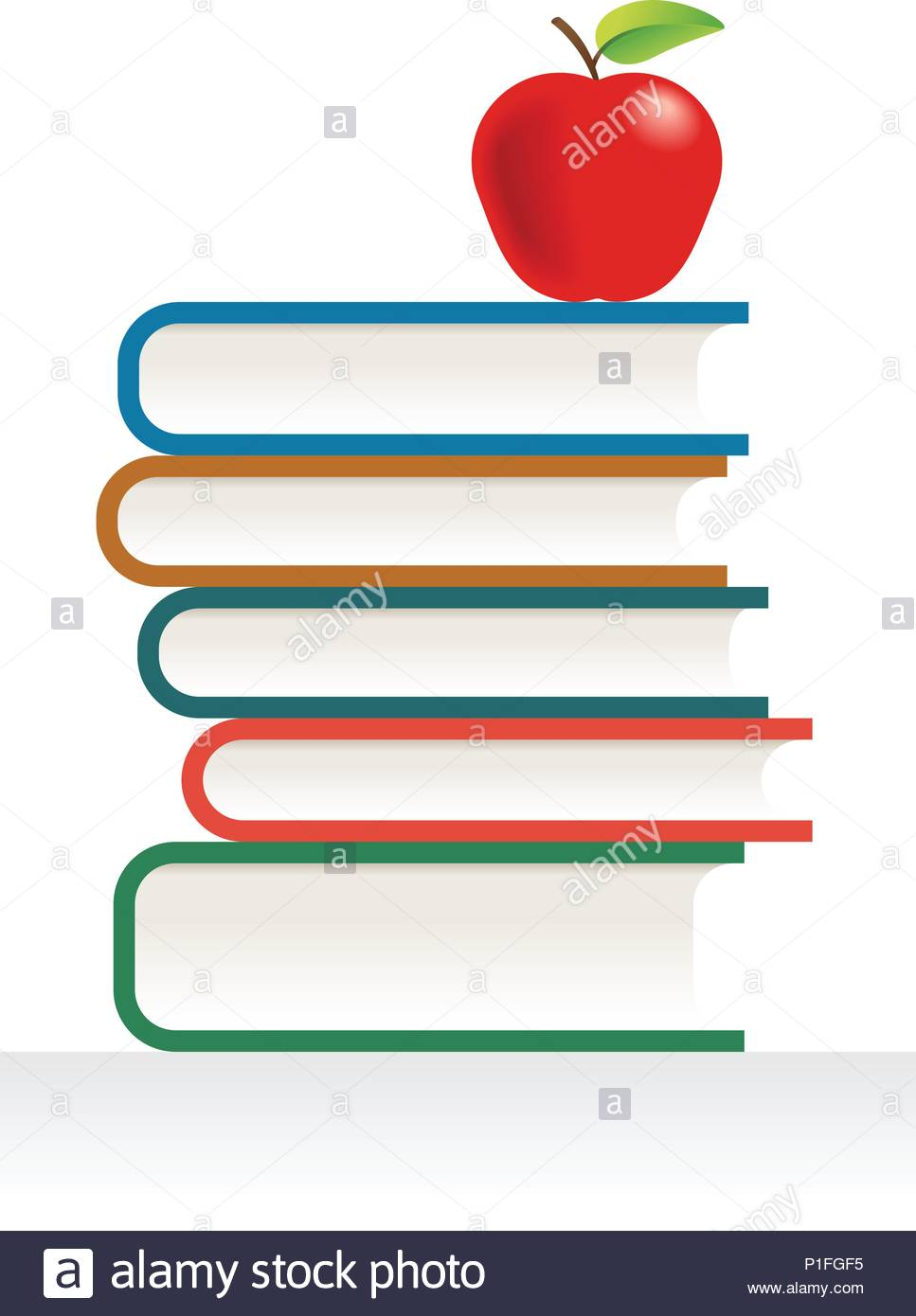 Apple And Books. Global colors used Stock Vector Art & Illustration ...