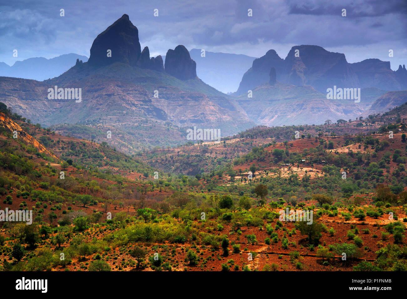 Africa, Ethiopia, Simien Mountains,, Afrika, Aethiopien, Simien Gebirge, - Stock Image