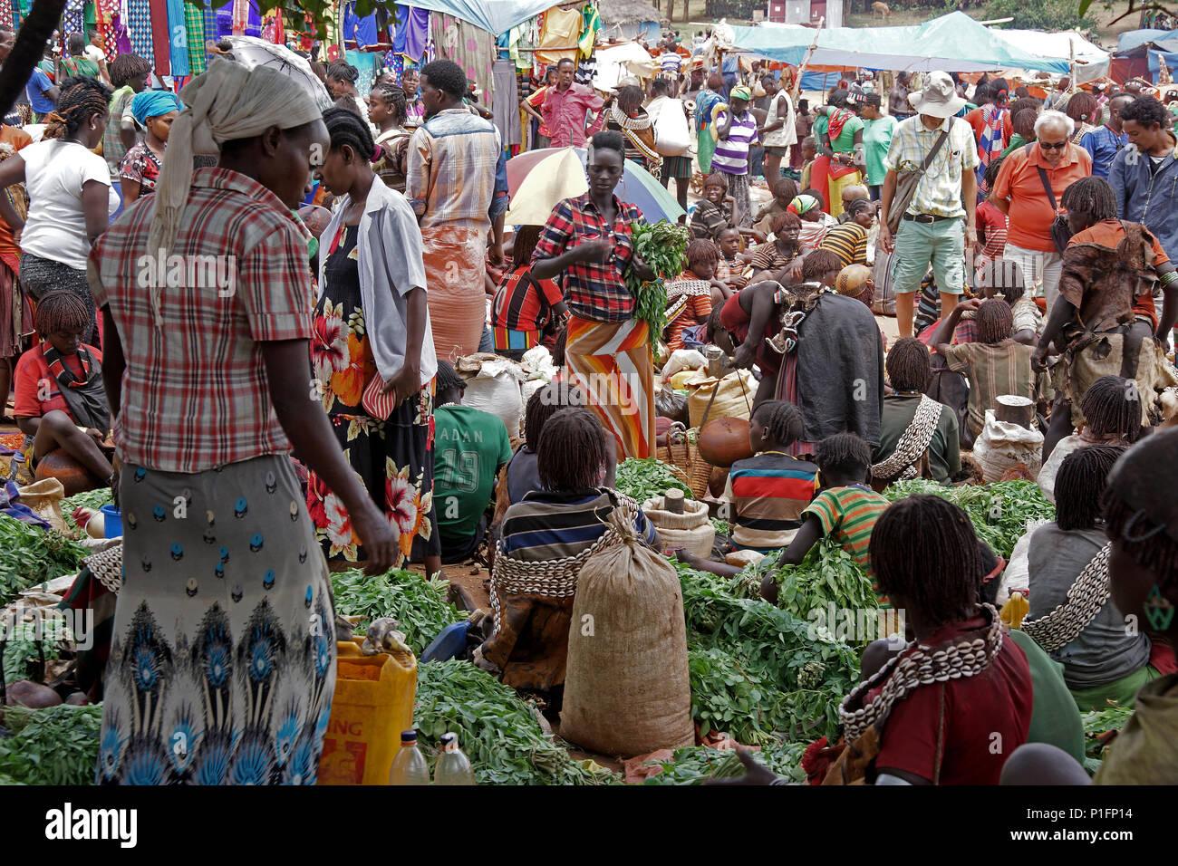 Africa, Ethiopia, Tsemay Market, Afrika, Aethiopien, Tsemay Markt - Stock Image