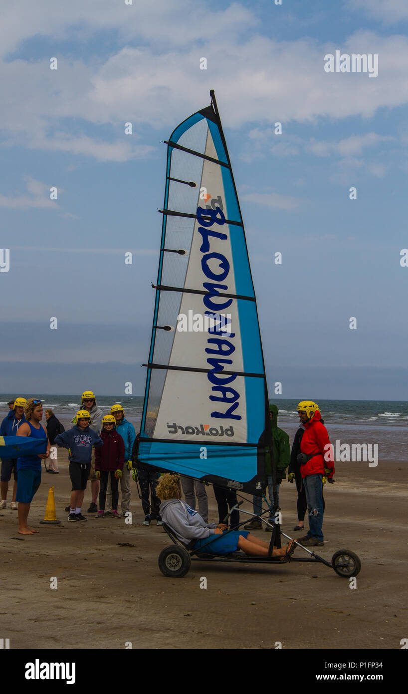 Blowcarting (Landyachting) St Andrews, Scotland, UK - Stock Image