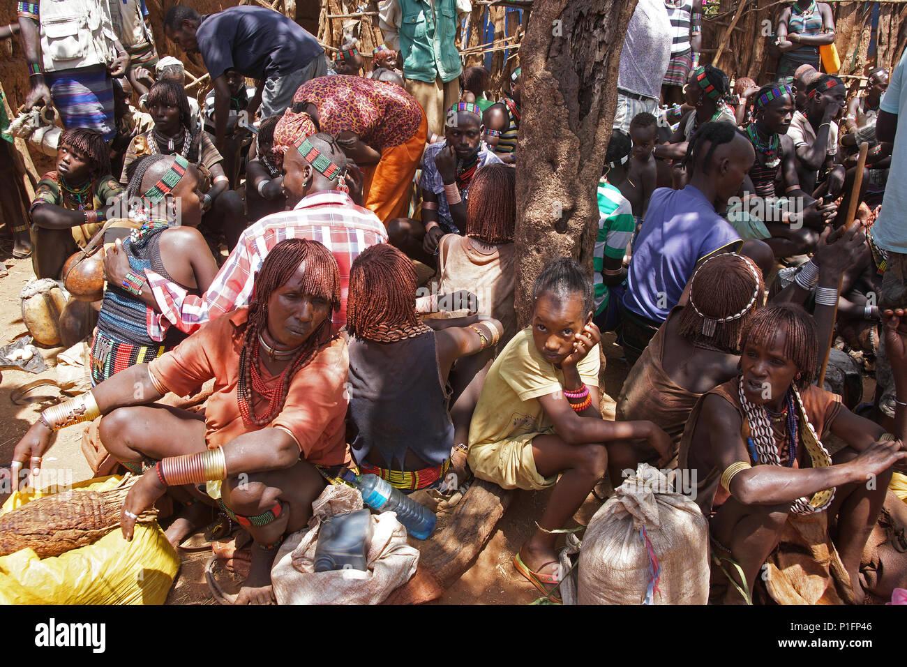 Africa, Ethiopia, Hamer market,, Afrika, Aethiopien, Hamer Markt, - Stock Image