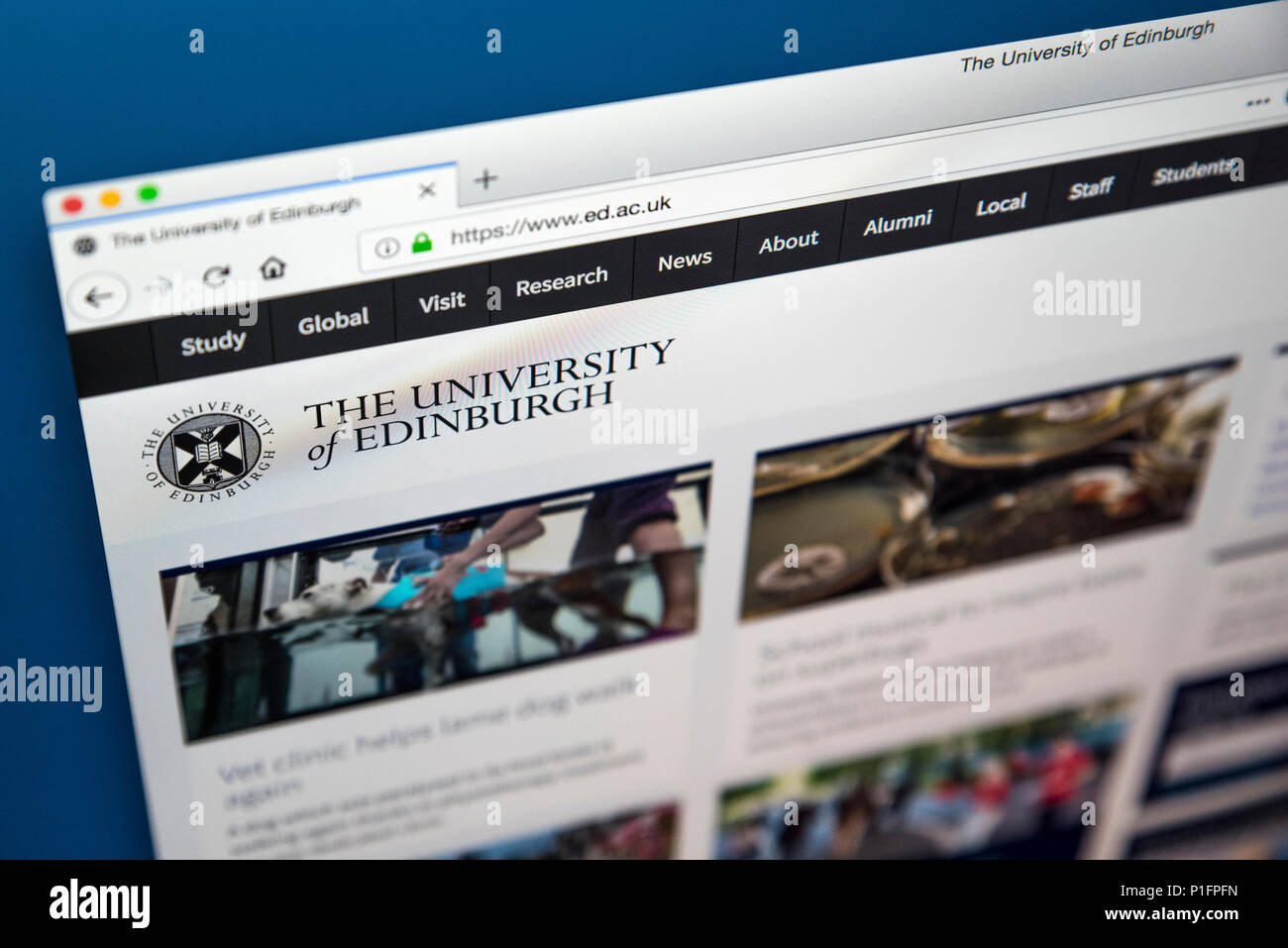 LONDON, UK - MAY 17TH 2018: The homepage of the official website for the University of Edinburgh - the sixth oldest university in the English-speaking - Stock Image