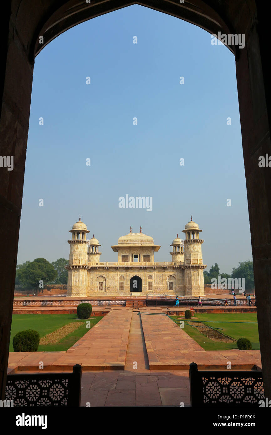 Framed view of  Itimad-ud-Daulah Mausoleum in Agra, Uttar Pradesh, India. This Tomb is often regarded as a draft of the Taj Mahal. - Stock Image