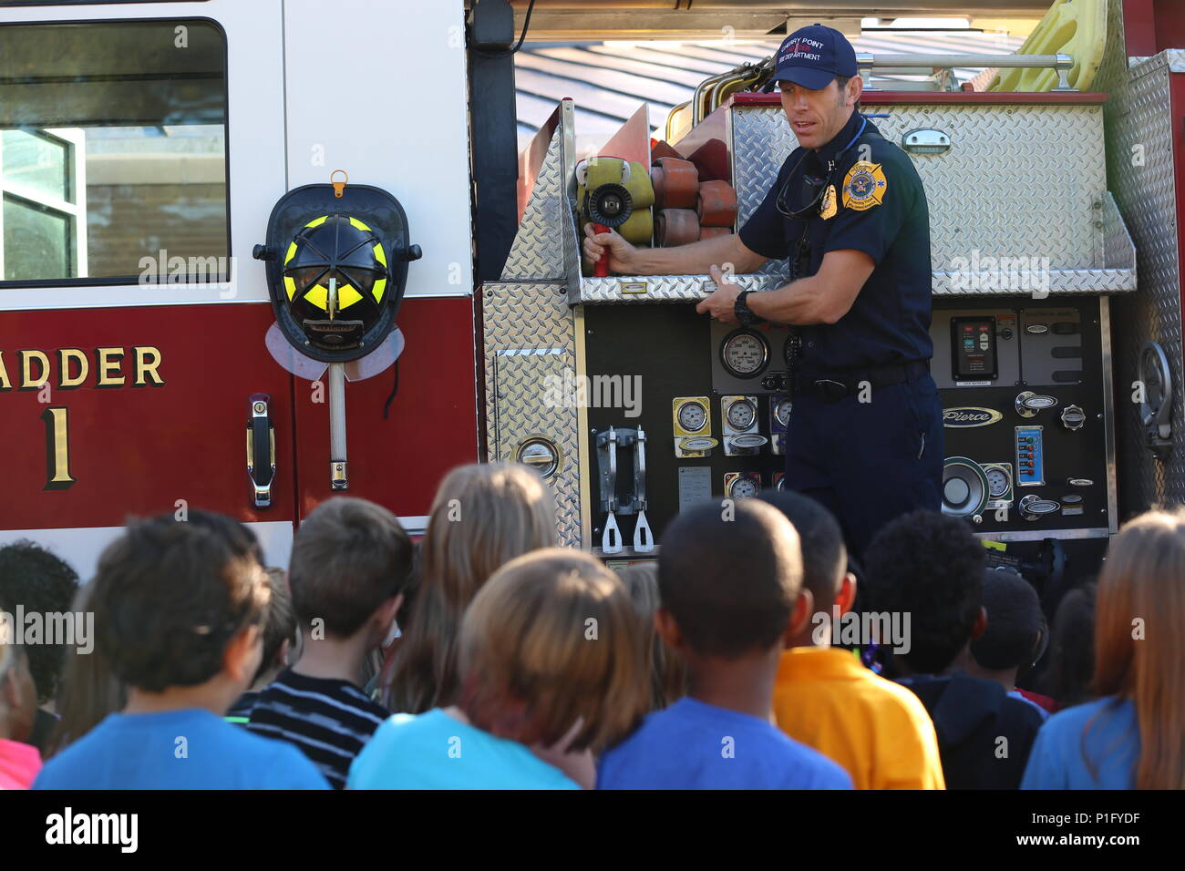 Edward Hudson explains the functions of a ladder truck to