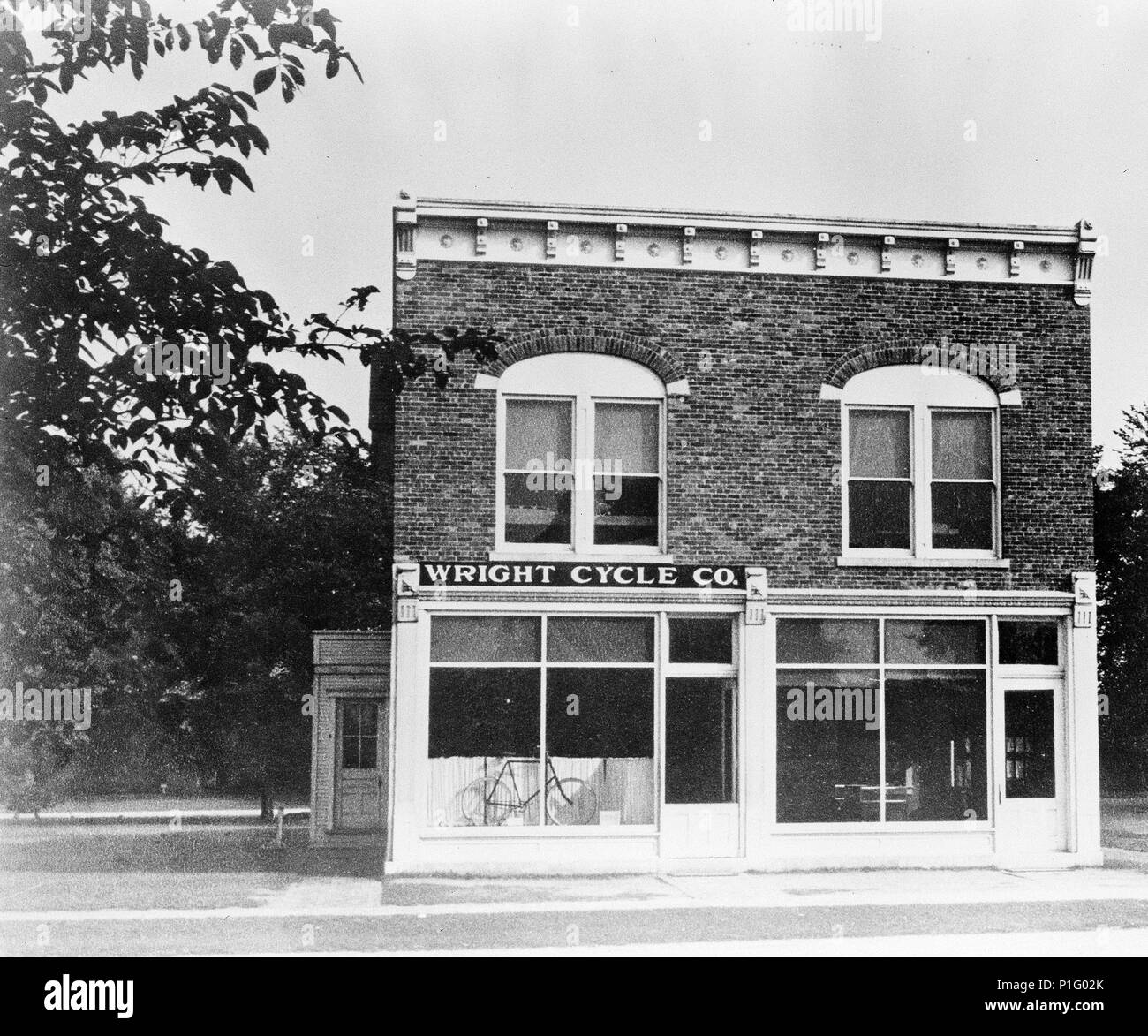 After a brief stint in the printing business, Orville and Wilbur Wright decided to open a bicycle shop together in Dayton, Ohio.This photograph shows the Wright Cycle shop as it looked in 1937 after being moved to the Henry Ford Museum at Greenfield Village in Dearborn, Michigan. - Stock Image