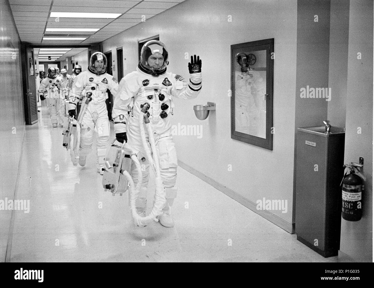 COMMANDER FRANK BORMAN LEADS THE WAY FOR FELLOW ASTRONAUTS LOVELL AND ANDERS AS THEY LEAVE FOR THE LAUNCHPAD FOR APOLLO 8 MISSION - Stock Image