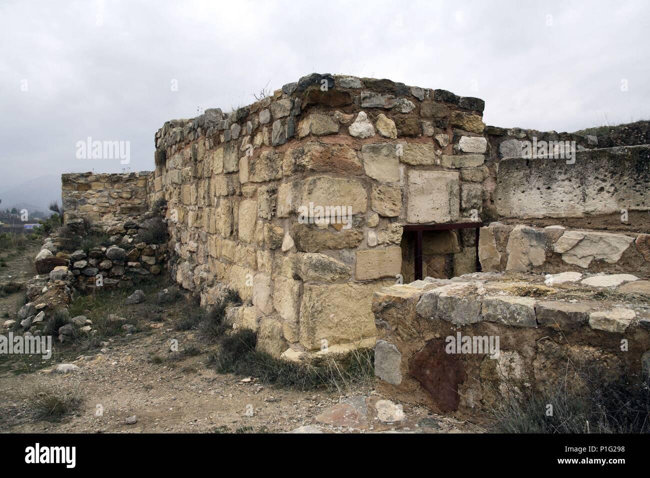 SPAIN - Cuenca de Mula (district) - MURCIA. Cehegín; Yacimiento ciudad visigoda / íbera de Begastri; murallas. - Stock Image