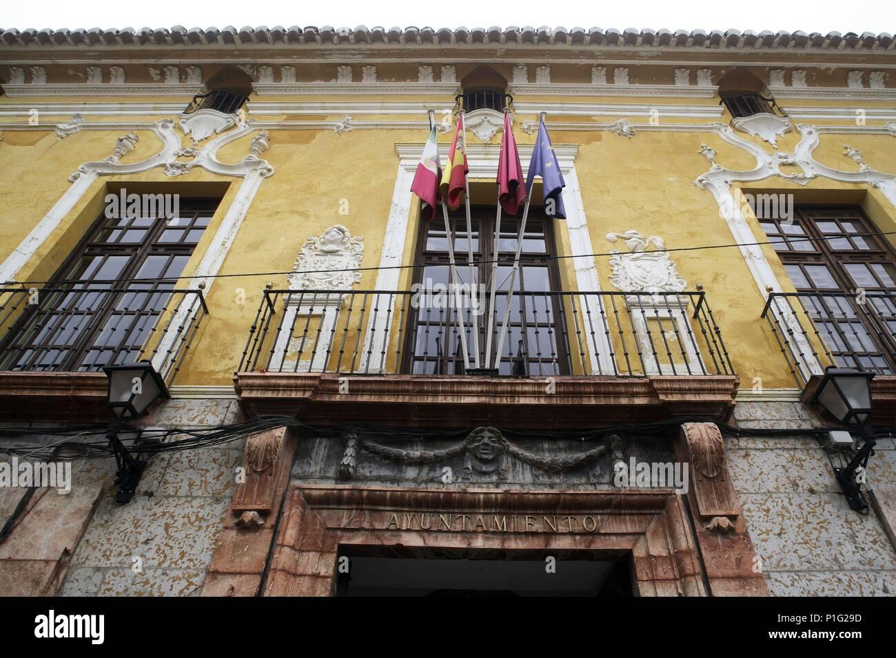 SPAIN - Cuenca de Mula (district) - MURCIA. Cehegín; fachada del Palacio de Jaspe (actual Ayuntamiento). - Stock Image