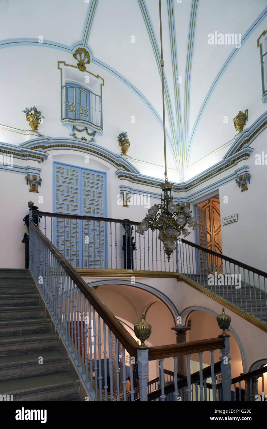 SPAIN - Cuenca de Mula (district) - MURCIA. Cehegín; escalera del Palacio de Jaspe (actual Ayuntamiento). - Stock Image