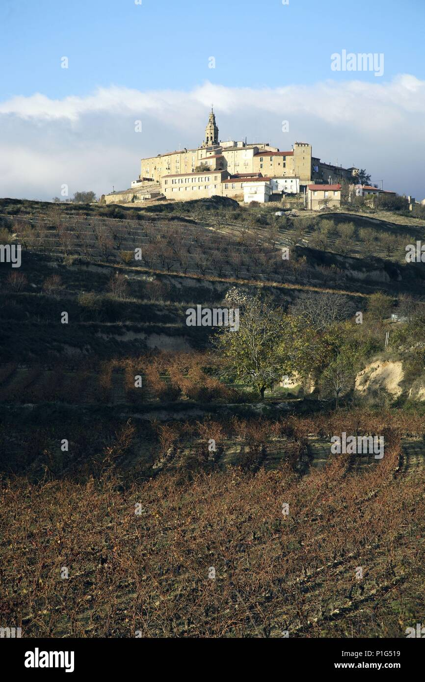 SPAIN - BASQUE COUNTRY - Rioja alavesa (district) - ALAVA. villa fortificada de Labraza; vista con viñedos. - Stock Image