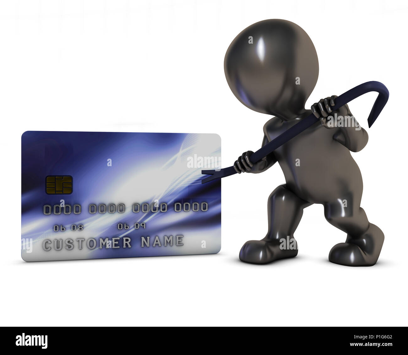 3D Render of Morph Man and credit theft - Stock Image