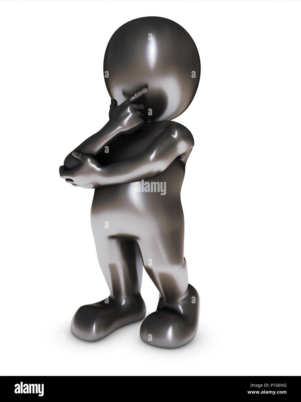 3D Render of Morph Man thinking - Stock Image