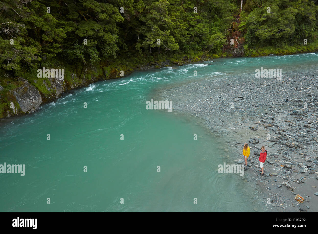Tourists by Makarora River, Blue Pools, Mount Aspiring National Park, Haast Pass, near Makarora, Otago, South Island, New Zealand (model released) - Stock Image