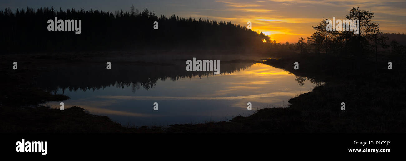 Sunrise reflections. Torronsuo National Park, Tammela, Finland. - Stock Image