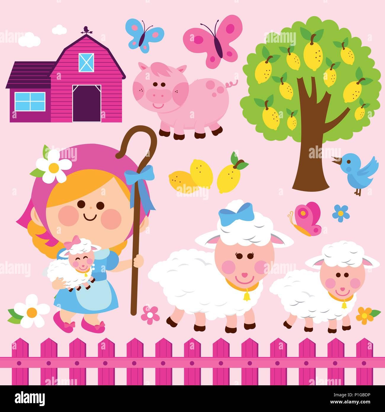 Shepherd And Sheep Stock Vector Images - Alamy