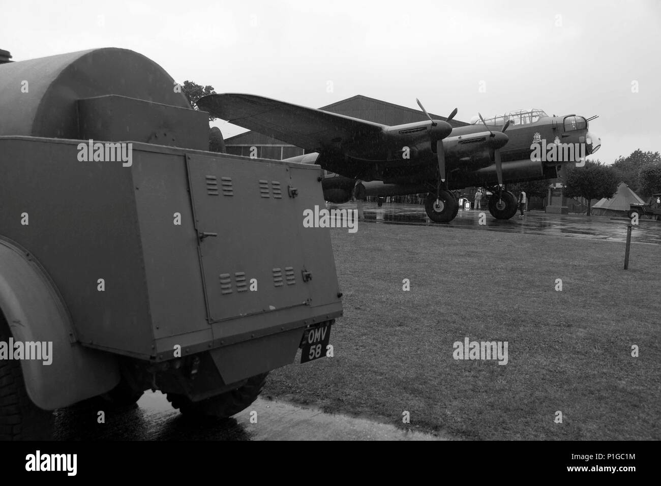 AEC fuel Bowser with Avro Lancaster - Stock Image