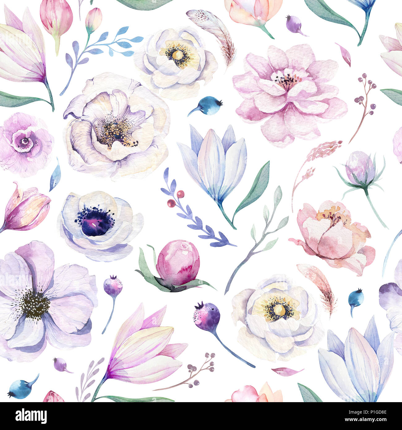 Seamless Spring Lilic Watercolor Floral Pattern On A White