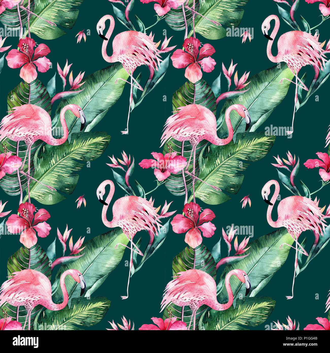 Tropical Seamless Floral Summer Pattern Background With Tropical