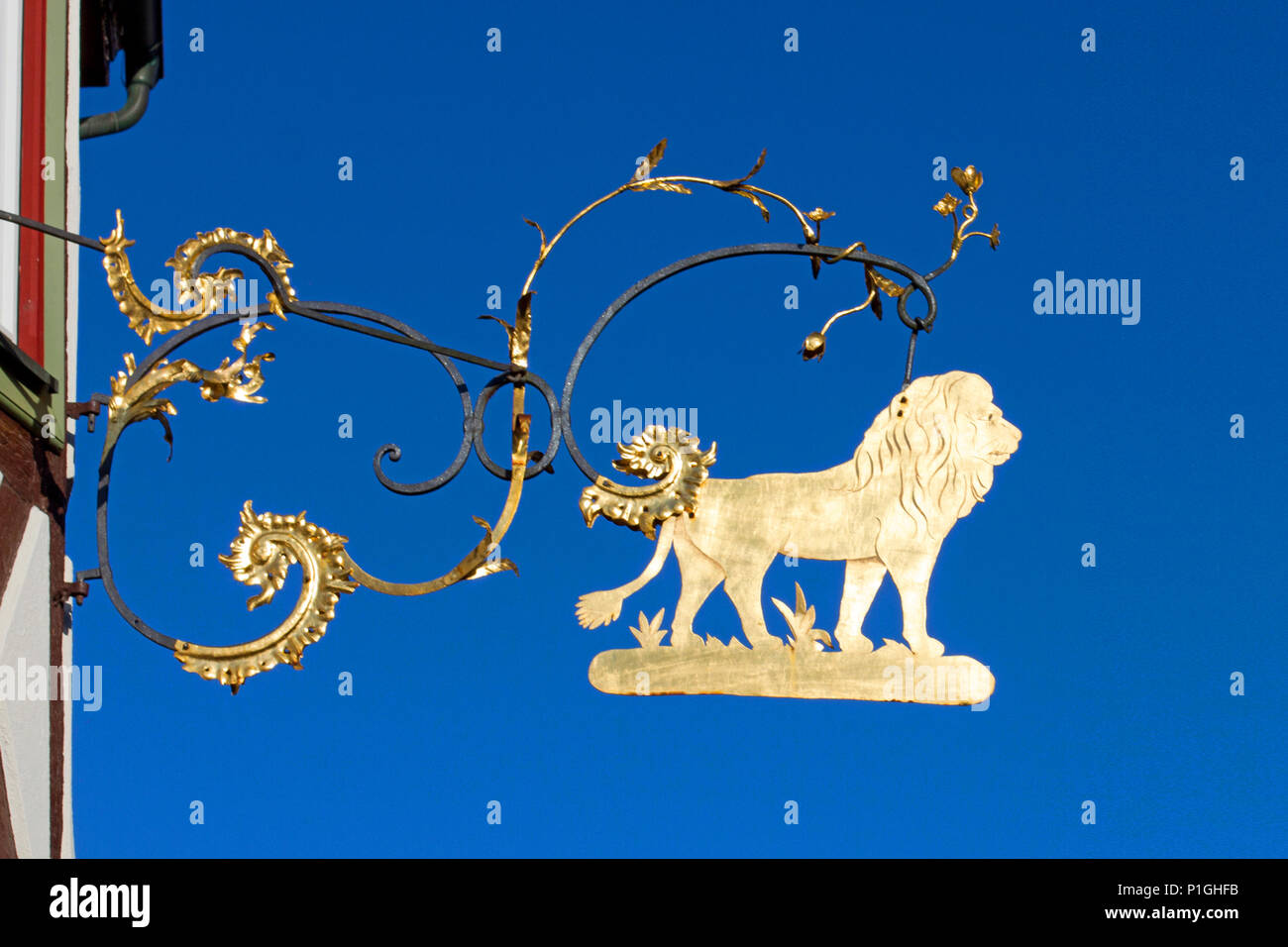 Bavaria,Germany,Lohr am Main, tavern sign, the Loewen, Deutschland,Bayern,Lohr am Main, Wirtshausschild, Zum Loewen - Stock Image
