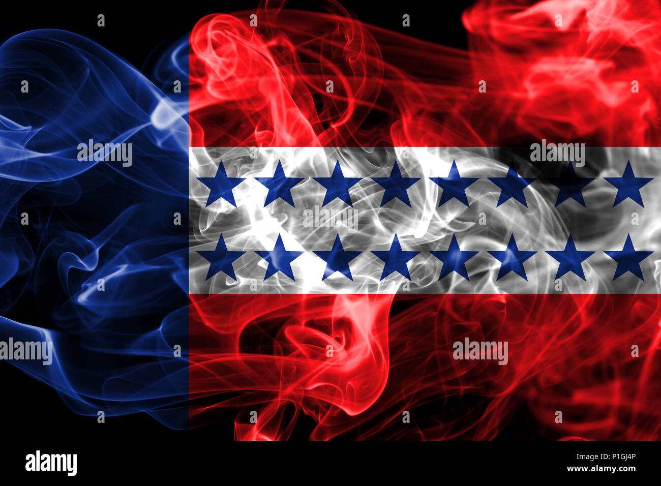 Tuamotu Archipelago smoke flag, groups of islands in French Polynesian - Stock Image