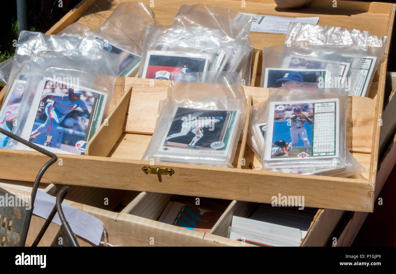 Bags Of Old Baseball Cards Are Packaged For Sale At An Antique Event
