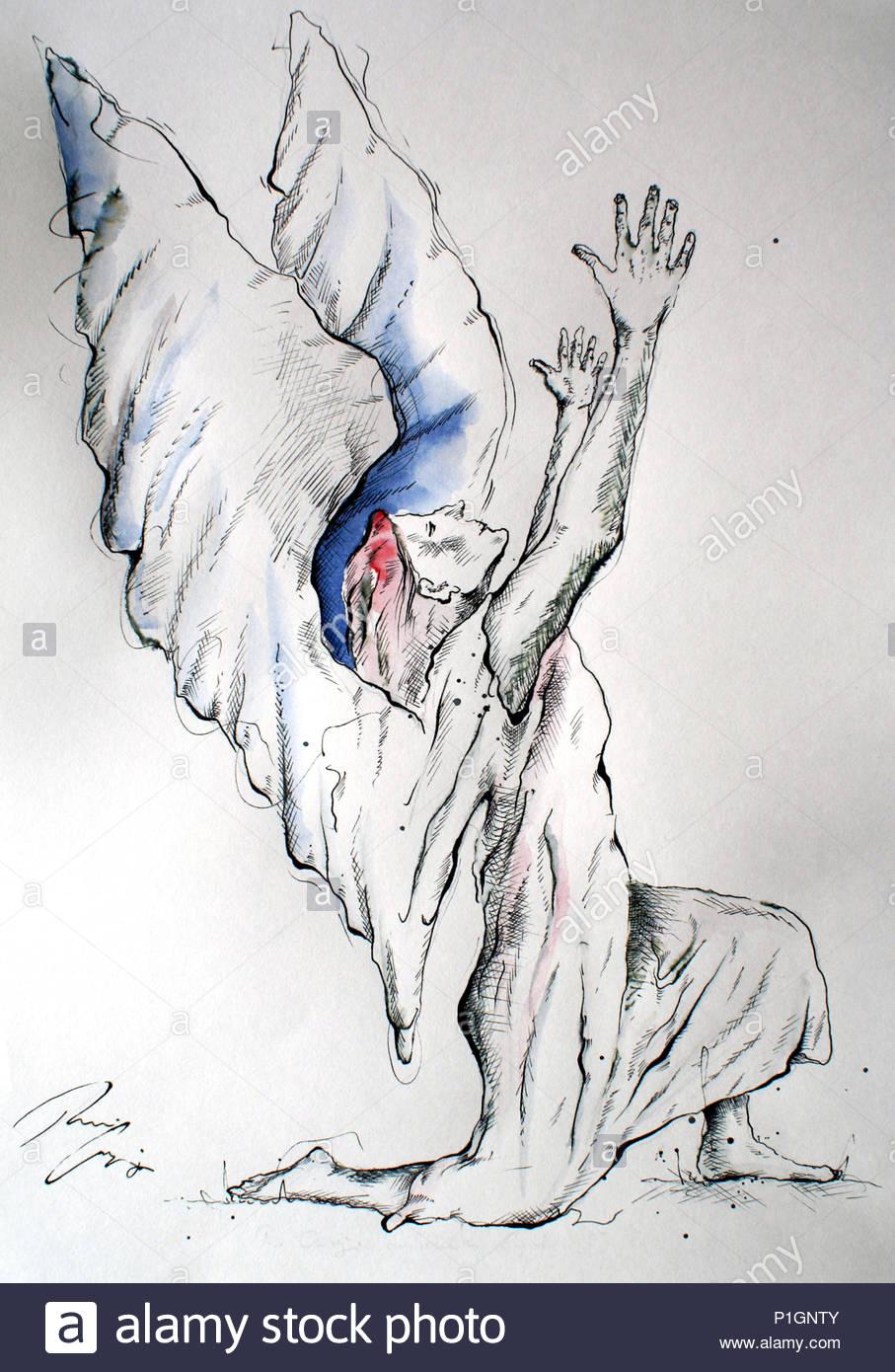 angel worshiping 2 - Stock Image