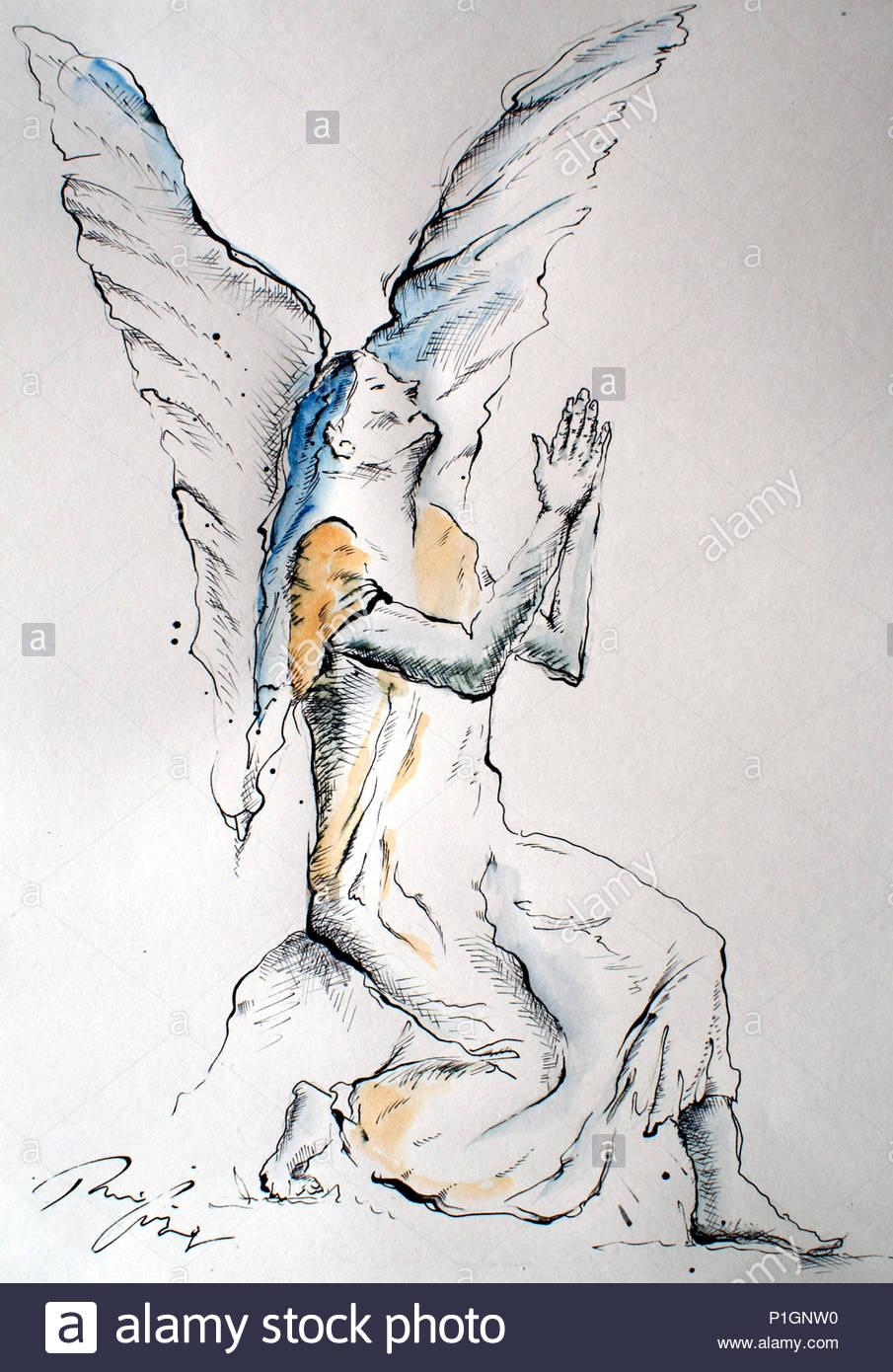 angel at prayer - Stock Image