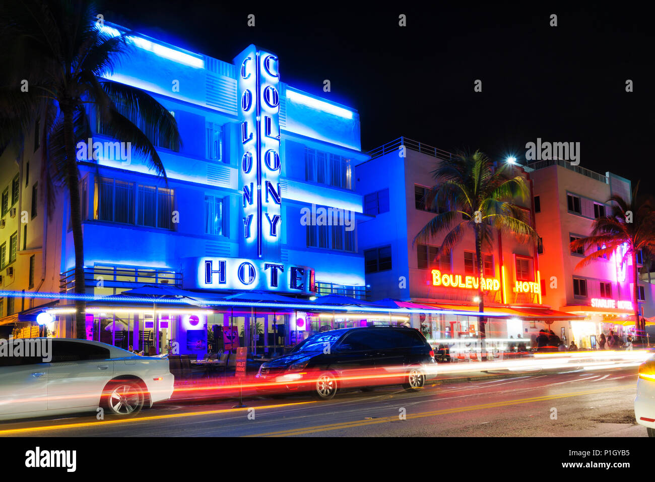 MIAMI BEACH, FLORIDA - JUNE 12, 2018: famous art deco district of Ocean Drive in South Beach by night, the Colony Hotel. Miami, USA - Stock Image