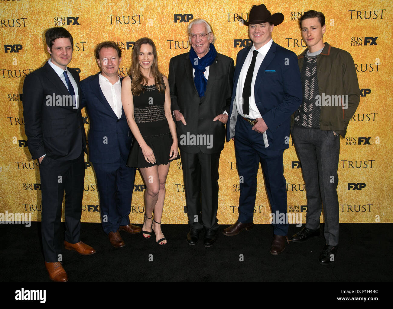 """Celebrities attend FYC Red Carpet Event for """"Trust,' at the Saban Media Center at the Television Academy.  Featuring: Michael Esper, Simon Beaufoy, Hilary Swank, Donald Sutherland, Brendan Fraser, Harris Dickinson Where: Los Angeles, California, United States When: 11 May 2018 Credit: Brian To/WENN.com - Stock Image"""
