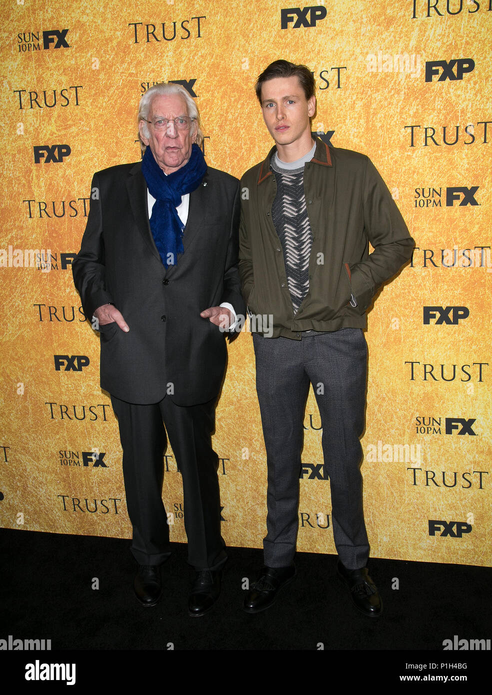 """Celebrities attend FYC Red Carpet Event for """"Trust,' at the Saban Media Center at the Television Academy.  Featuring: Donald Sutherland, Harris Dickinson Where: Los Angeles, California, United States When: 11 May 2018 Credit: Brian To/WENN.com - Stock Image"""