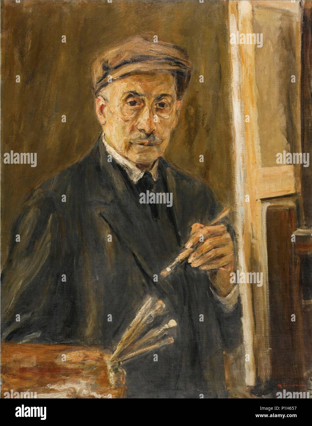 'Self-Portrait Wearing a Coat with Brush and Palette' by Max Liebermann. - Stock Image