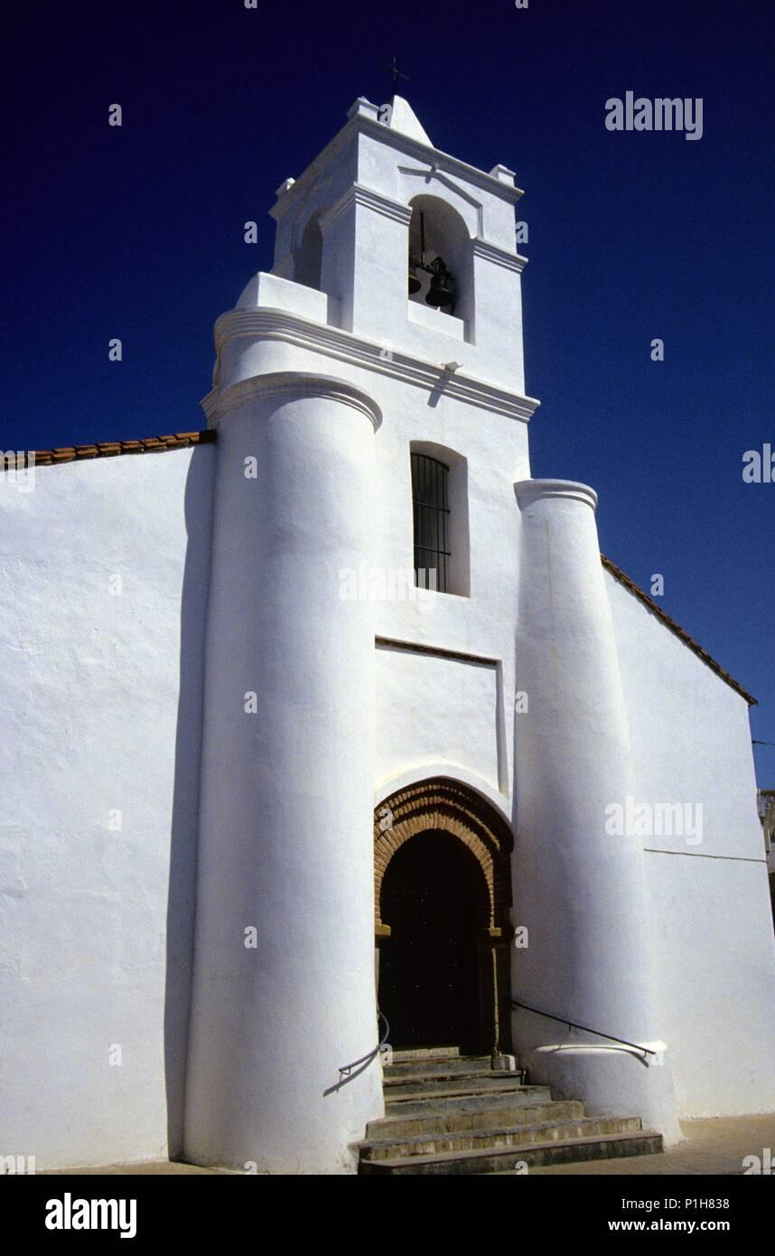 SPAIN - Extremadura - Badajoz. Azuaga, Iglesia, fachada fortificada. - Stock Image