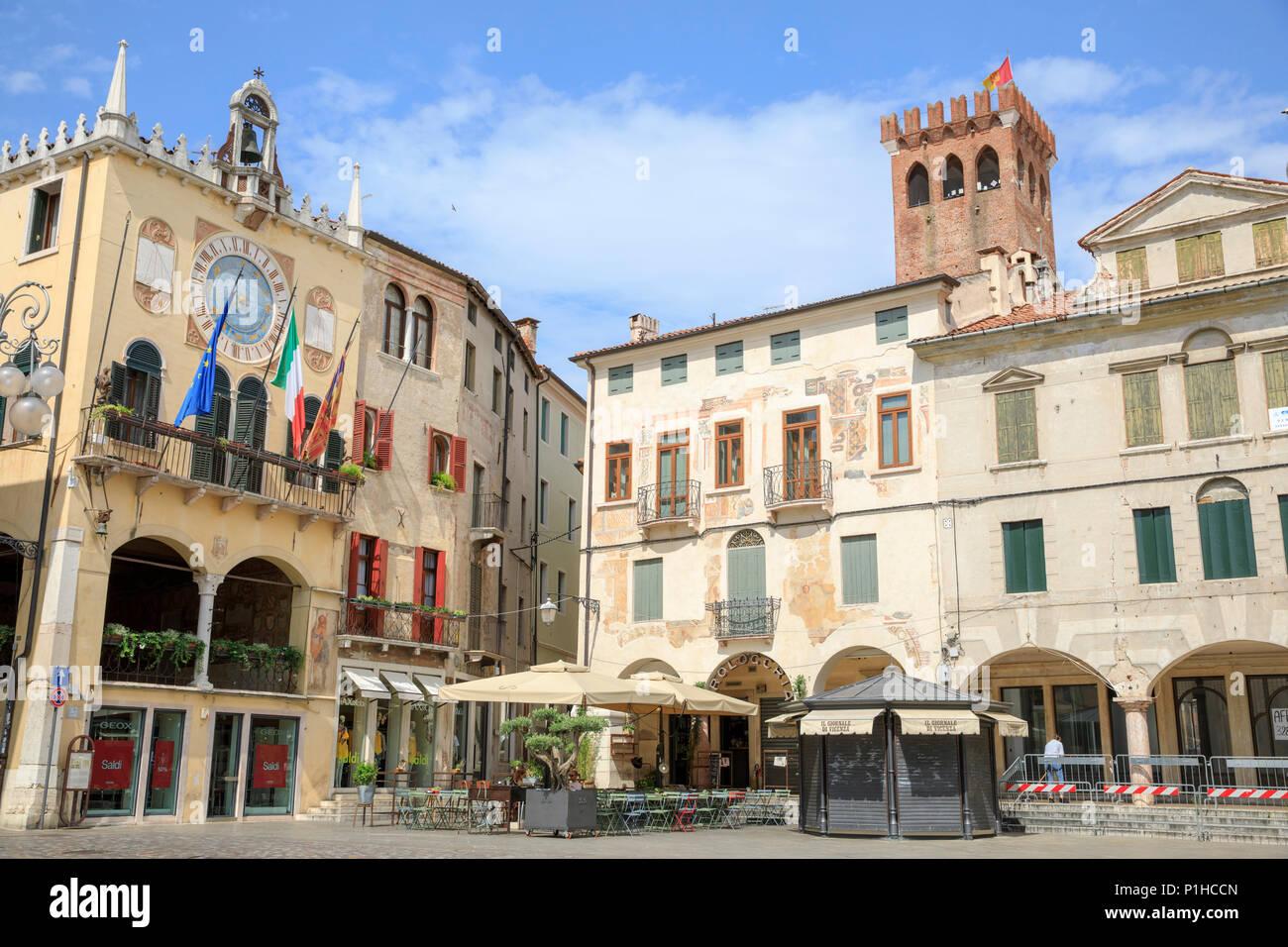 Loggia Del Municipio (L) & Torre Civica in Piazza Libertà, Bassano del Grappa, Italy - Stock Image