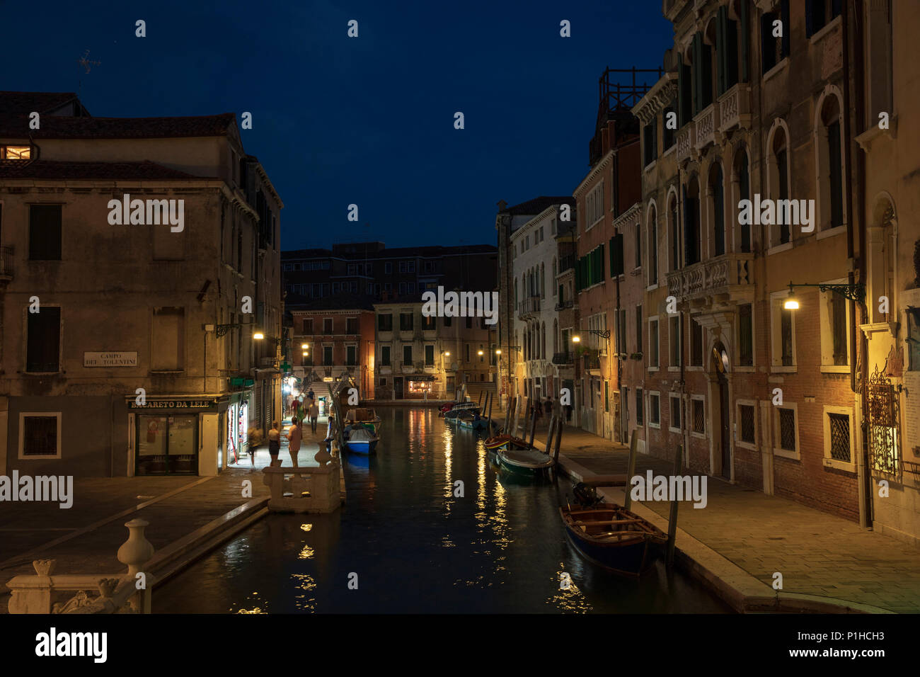 View down Fondamenta Condulmer as seen from Ponte dei Tolentini, Venice, Italy. Stock Photo