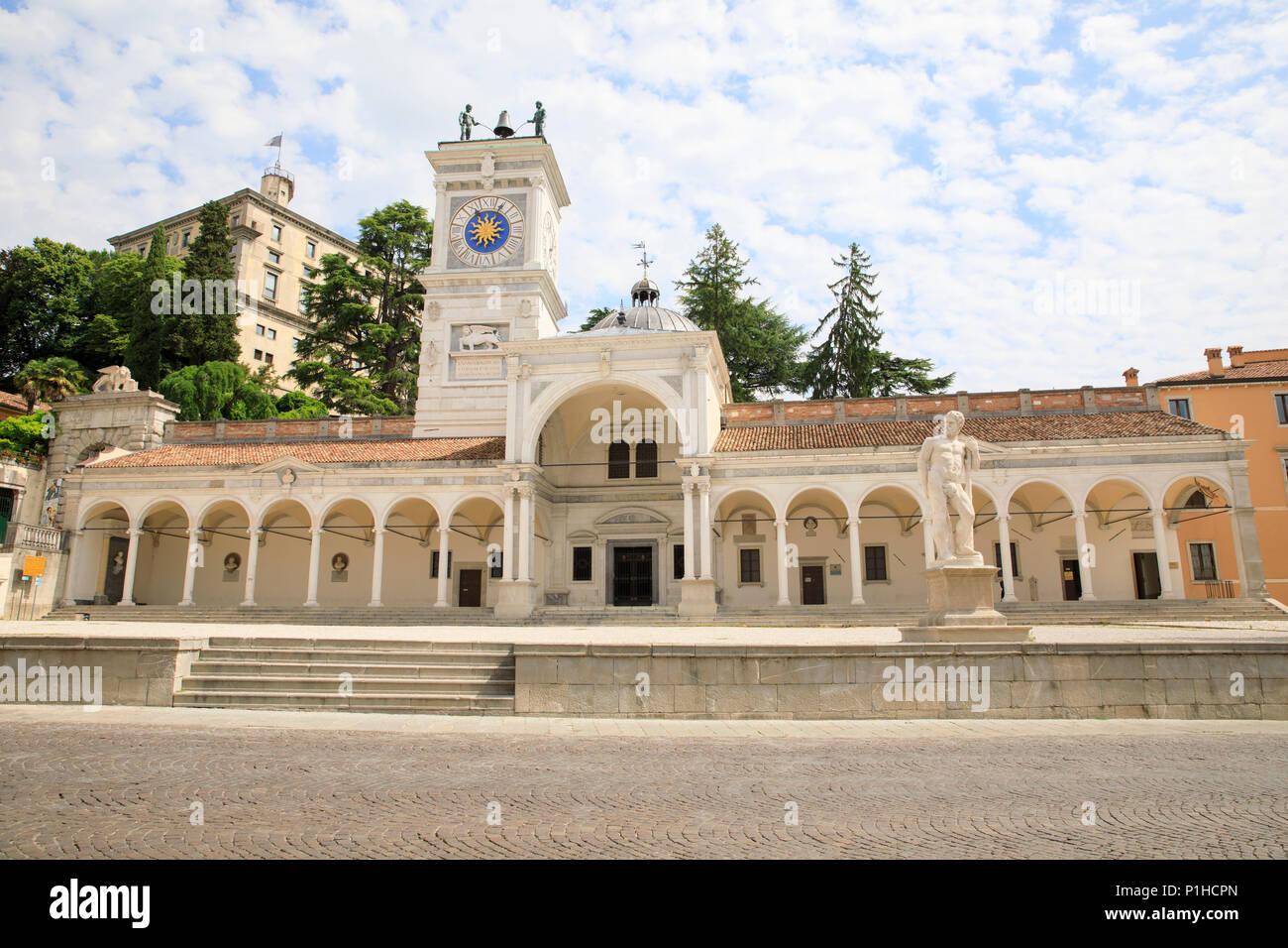 Piazza della Libertà (Freedom Square) & Torre dell'Orologio in Udine, Italy. Stock Photo