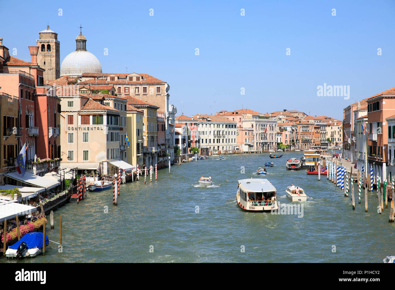 View from Ponte degli Scalzi looking down the Grand Canal in Venice, Italy. Stock Photo