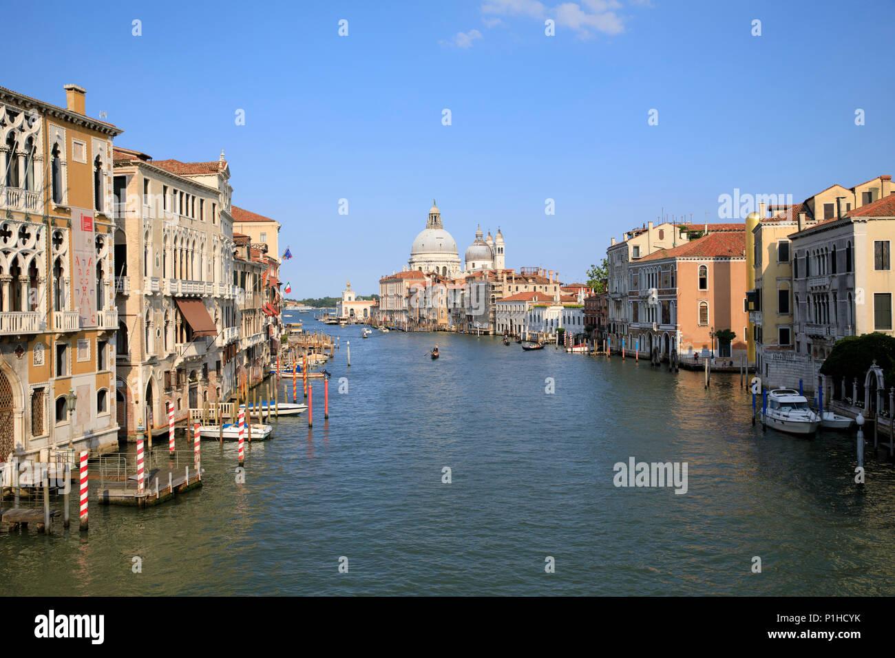 View from the Ponte dell'Accademia looking down the Grand Canal towards Basilica di Santa Maria della Salute. Stock Photo